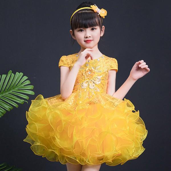 Jazz dance dresses for girls kids children yellow blue pink paillette  glitter princess chorus modern dance singers host Halloween party  performance