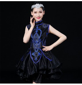 jazz dance dresses for women female royal blue black modern dance singers chorus gogo dancers stage performance competition dresses