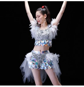 jazz dance outfits for women dance studio paillette feather silver royal blue red modern dance cheer leaders singers gogo dancers performance competition dresses