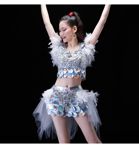 83d77063412e jazz dance outfits for women dance studio paillette feather silver royal  blue red modern dance cheer leaders singers gogo dancers performance  competition ...