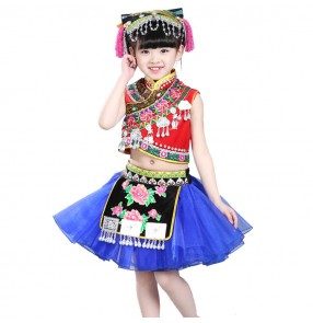 Kids ancient traditional chinese folk dance costumes for girls china miao hmong cosplay dancing tops and skirts