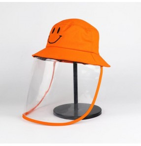 Kids anti-spitting protective fisherman's cap with face shield virus dust proof sun hats for children