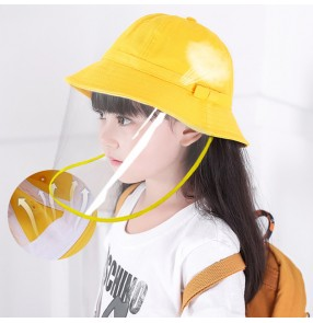 kids Anti-spray saliva droplet fisherman's cap with clear face shield dust outdoor sunscreen protective hat for children