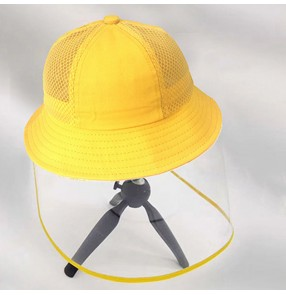 Kids anti-spray saliva fisherman's cap with detachable face shield breathable summer protective hat for children