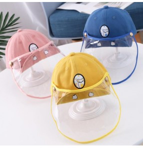 Kids Antidroplet baseball hat Visor Shield face mask Bucket Hat Face Protective Cover Sun Cap