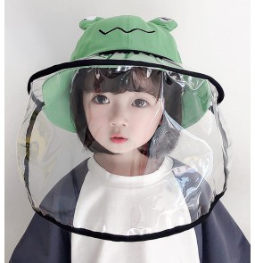 Kids baby anti-virus fisherman hat with face shield dust spray saliva proof sun screen cartoon cap for children