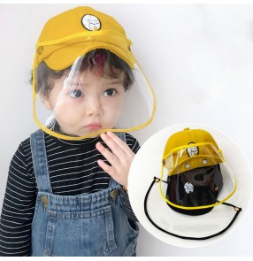 Kids baby toddlers anti saliva spitting baseball cap with face shield outdoor sun hat safety protective hat for children