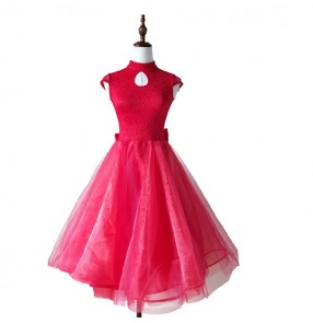 Kids ballroom dresses lace backless competition stage performance tango waltz dancing long dresses