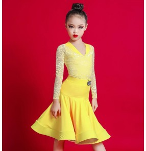 Kids black yellow lace latin dance dresses competition ballroom salsa rumba chacha dance dress latin dance costumes for girls