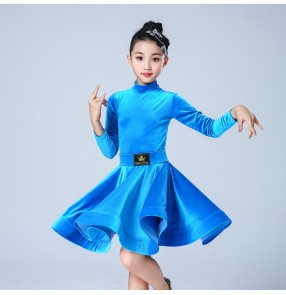 Kids blue black pink velvet long sleeves latin dance dresses salsa rumba chacha dance dress for children latin dance costumes
