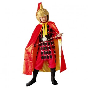Kids Boys Chinese ancient folk Costume Hanfu warrior swordsman Performance Costume drama Mulan Ancient soldier cosplay costume Yue Fei general armor clothes