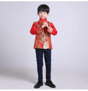 Kids boys chinese dragon tang suit dress coat host singers stage performance tops for boy flower boys wedding party jacket for kid birthday party tang suit top for children