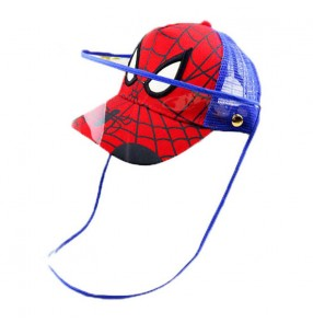 Kids cartoon anti-spray saliva baseball cap with face shield outdoor summer breathable protective hat for boy and girls