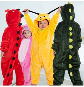 Kids Cartoon one-piece pajamas children's dinosaur sleep wear flannel show pajamas casual home clothing