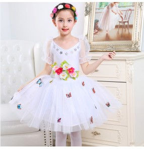 kids children ballet dance dress flower girls singer chorus dress tutu skirt princess stage performance tutu princess dresses