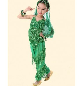 Kids children belly dance costume  belly dance pants and top and head chain and veil and 2pcs  bracelet
