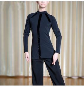 Kids children boy black latin dance shirts ballroom waltz tango dancing tops shirts