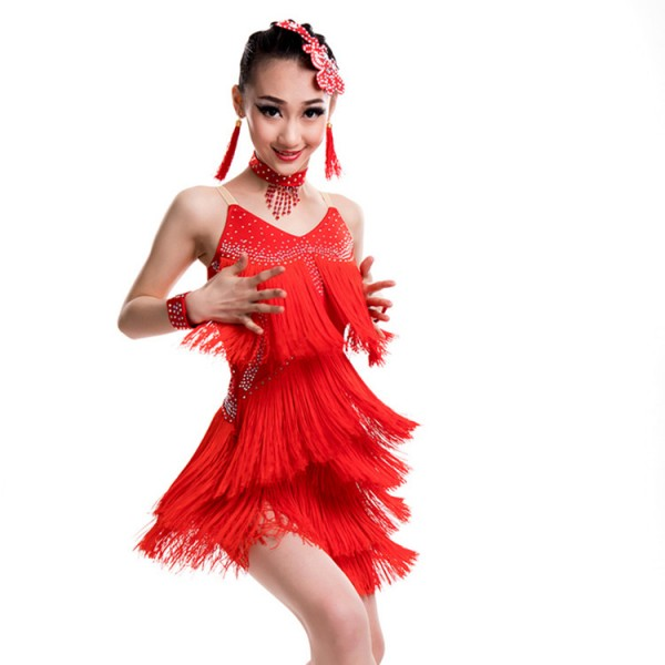 4ede6e0b907 Kids children latin dresses competition professional black red orange stage  performance salsa rumba dancing costumes