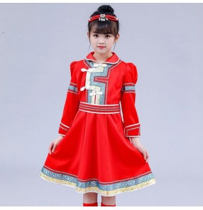 Kids children Mongolian dance costumes chidlren Mongolia drama cosplay dress stage performance chinese folk dance costumes