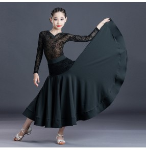 Kids children orange black lace ballroom dance dresses girls stage performance ballroom dance skirts waltz tango dance dress for child