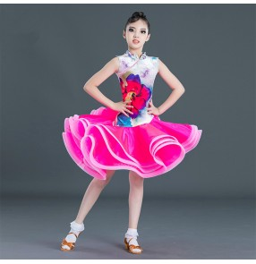 kids children printed latin dance dress salsa rumba chacha dance dress costumes