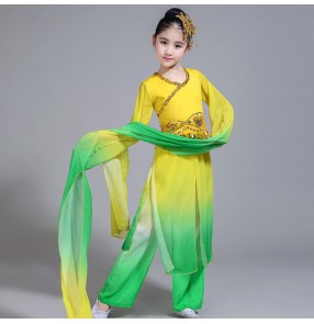 Kids china traditional classical dancing dresses green yellow gradient water fall sleeves fairy princess competition stage performance costumes