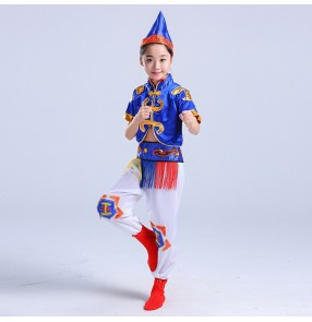 kids Chinese folk dance costume boys girls school competition Mongolian dance drama cosplay stage performance dancing outfits