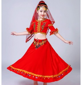 kids chinese folk dance costumes xinjiang Uighur minority indian belly dance dress stage performance drama cosplay dress
