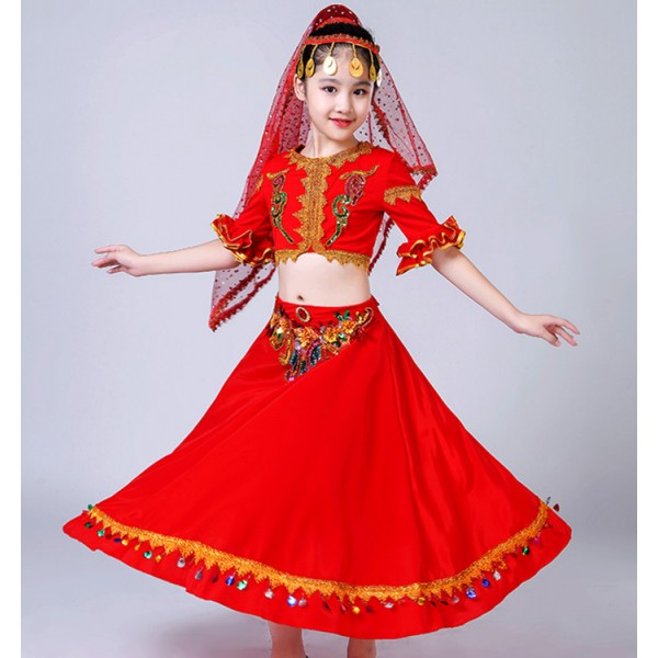 59bbf90eb kids chinese folk dance costumes xinjiang Uighur minority indian belly  dance dress stage performance drama cosplay dress