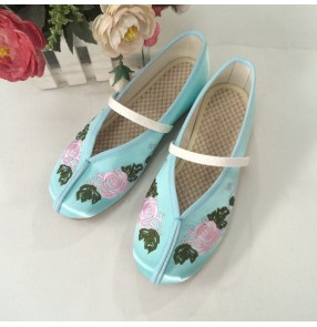 Kids chinese traditional folk dance embroidery shoes girls flats fairy drama cosplay casual comfortable princess shoes