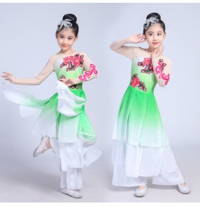 Kids classical traditional dance costumes green pink gradient color fairy stage performance professional yangko fan dancing dresses