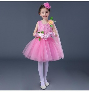 Kids flowers pink princess dresses choir girls children chorus stage performance dresses host singers dresses