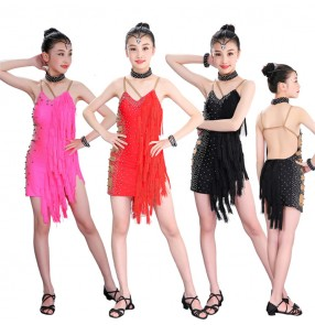Kids girls competition latin dresses tassels diamond stage performance rumba chacha samba dance skirts costumes