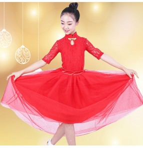 Kids girls lace ballroom dance dresses  robe de bal des filles waltz tango chacha flamenco dress skirts costumes