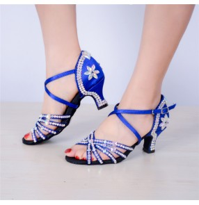kids girls latin ballroom dance shoes rhinestones satin upper stage performance rumba chacha dance shoes sandals