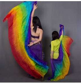 Kids Girls rainbow colored Belly Dance Handmade Silk Veil Streamer Hand Thrown Scarf Gradient Real Silk Soft Rectangle Shawl Veils