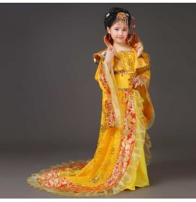 Kids girls red gold pink chinese folk dance dresses traditional empress queen stage performance costumes for girl Tang Han princess fairy queen film drama cosplay trailing dress