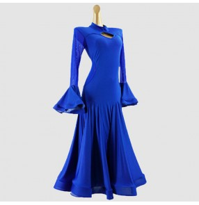 Kids girls royal blue ballroom dancing dresses competition waltz tango dance dresses