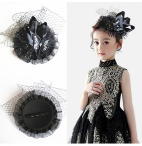 Kids girls stage performance headdress evening party singers flower girls butterfly fascinators mini top hat hair accessories