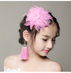Kids girls stage performance host singer dancer head flower headdress party flower girls hair accessories