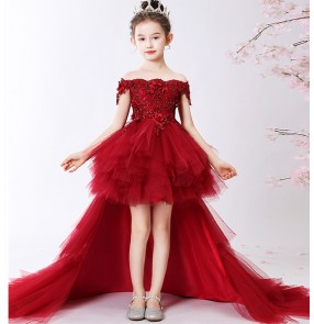 Kids girls wine color piano host singers performance trailing dresses model show birthday party performance dresses