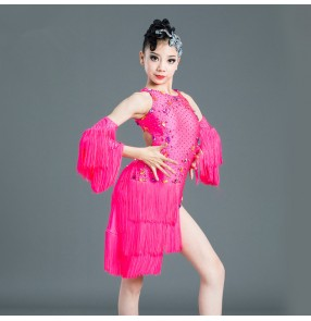 Kids hot pink colored competition latin dance dresses girls rhinestones salsa rumba chacha dance dresses