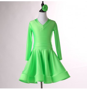 Kids hot pink green yellow wine latin dance dresses competition children colorful salsa rumba chacha dance costumes
