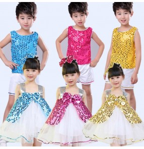 Kids jazz dance costumes sequined girls boys stage performance modern dance singers chorus kindergarten ballet princess dancing outfits
