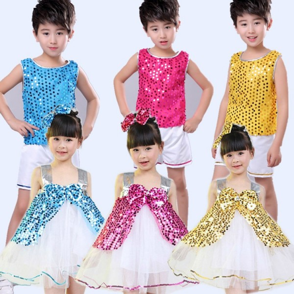 133b72288 Kids jazz dance costumes sequined girls boys stage performance ...