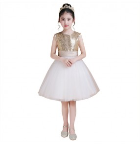 Kids jazz dance dresses fairy paillette singers modern dance chorus piano model party celebration evening flower girls dresses