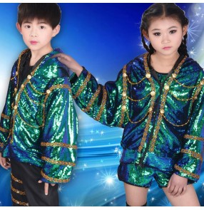 Kids jazz dance rap hiphop outfits boys girls green sequined drummer competition modern cheer leaders group dancers  model party photos stage performance tops and pants