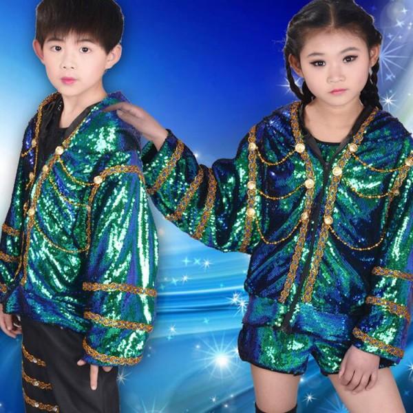 3868e8892 Kids jazz dance rap hiphop outfits boys girls green sequined drummer ...