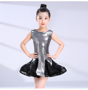 Kids latin dance dresses for girls children red black silver stage performance professional chacha rumba dance dresses outfits costumes