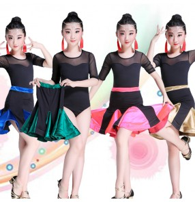 Kids latin dresses competition stage performance professional chacha rumba samba dancing leotards and skirt